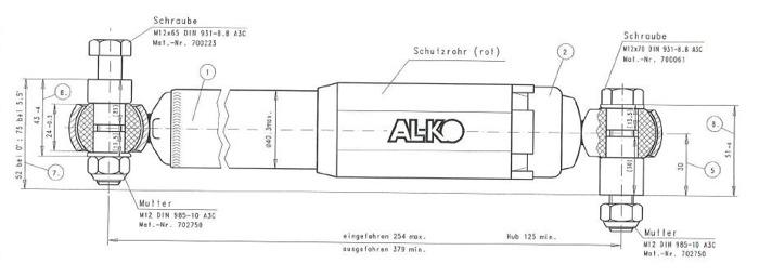 Amortizor pentru remorci auto AL-KO Octagon roșu 1800 - 3500 kg