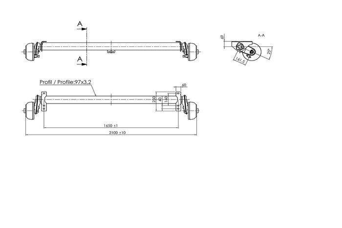 Axă cu frâna AL-KO 1350 kg A:1650 C:2090 5x112