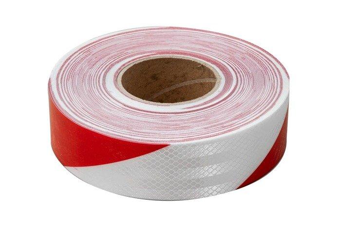 Banda reflectorizantă alb-roșie - rolă întreagă 45 m