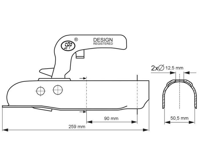 Cuplă Steelpress 750 C pe țeavă cu diametru de 50 mm