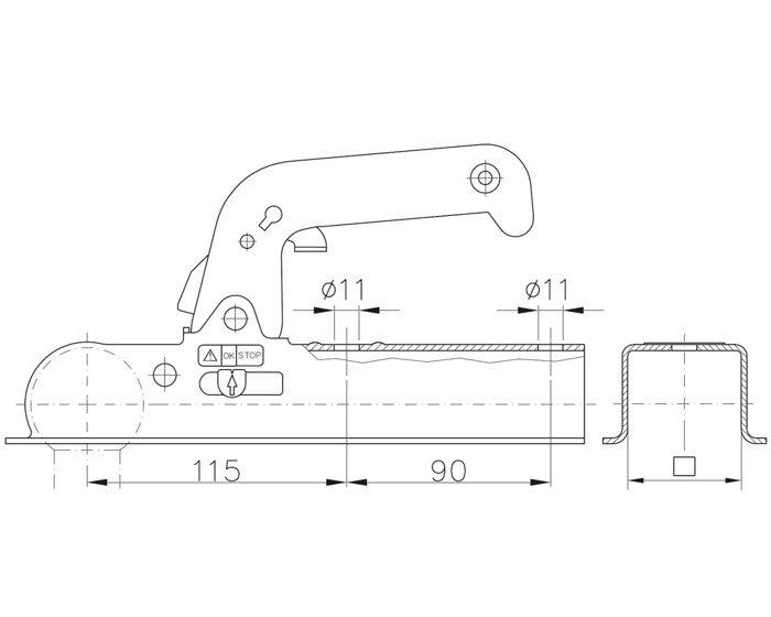 Cuplă remorcare Winterhoff WW 8-D40 800 kg 40x40