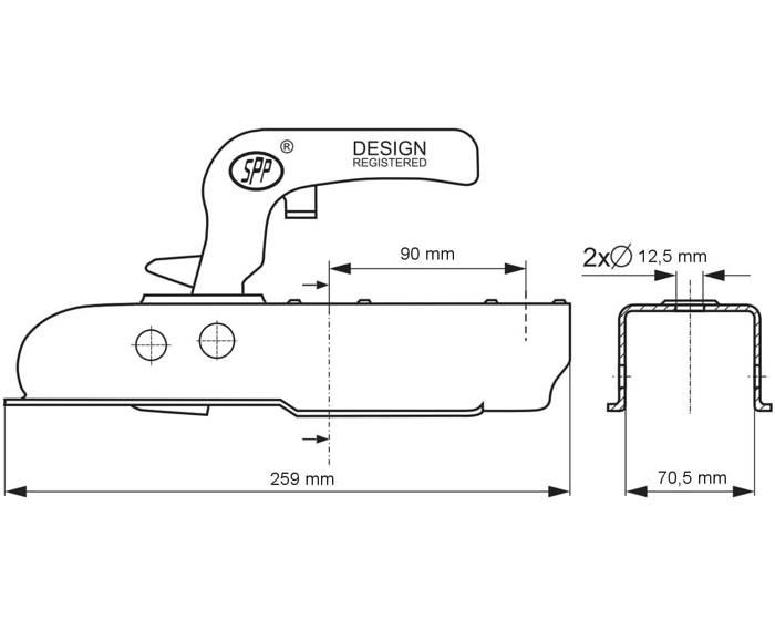 Cuplă remorcare pentru remorci auto Steelpress ZSK 750 H, masa totală maximă autorizată 800kg