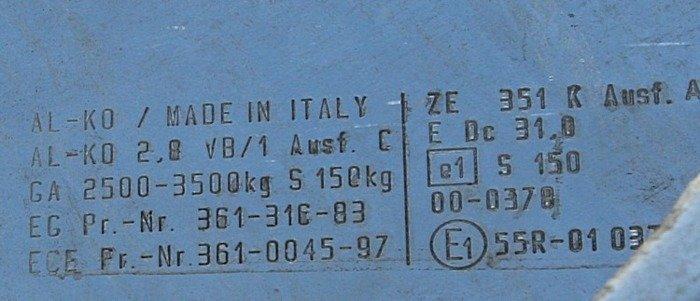 Frână inerțială pentru remorci auto AL-KO 3500kg KW120 2,8VB1 AK351