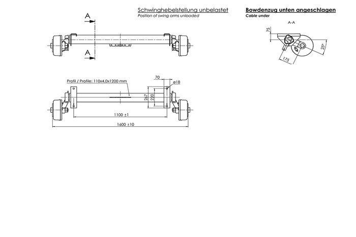 Osie cu frână a mărcii AL-KO 1800 kg A1100 C1600 E+ 5x112