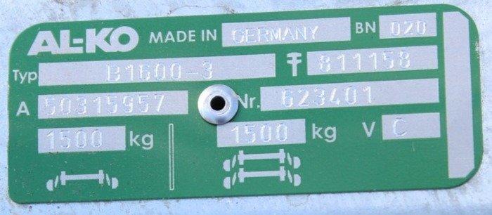 Osie cu frână pentru remorci auto AL-KO 1260 mm 1500 kg 5x112