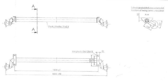 Osie fără frână pentru remorci auto AL-KO optima 1500 mm 750 kg 100x4