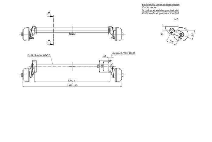 Osie frânată  AL-KO 1000 kg A1200 C1570 4x100 C