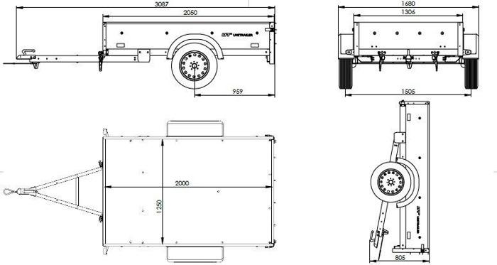 Remorca 200 x 125 cu prelată, extensii obloane și roată de sprijin MMA 750 KG Garden Traler 205 Unitrailer