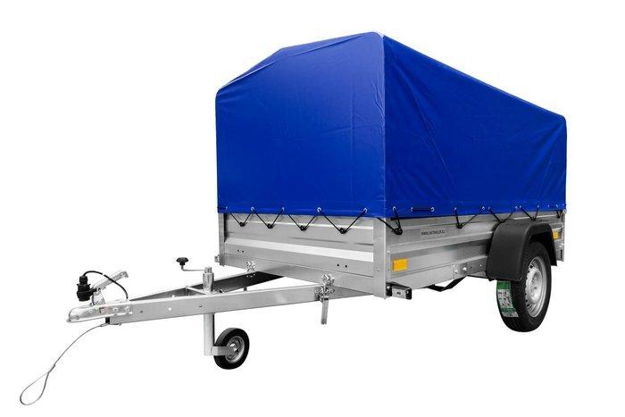 Remorcă Garden Trailer 236 750 KG transport auto în set cu prelată albastră H80 și roată de manevră