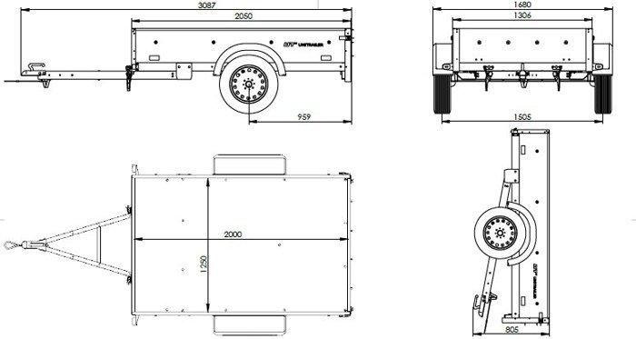 Remorca transport 200 x 125 Garden Trailer 205/R pe foi de arc Unitrailer cu schelet și prelată în set