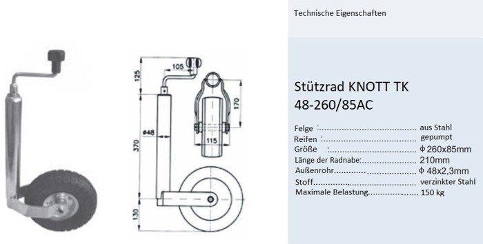 Roată de sprijin umflată  KNOTT TK 48-260/85AC