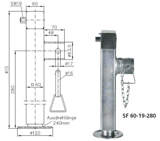 Set: Picior de sprijin retractabil pentru remorci auto Winterhoff SF 60-19-280, corbă și adaptor